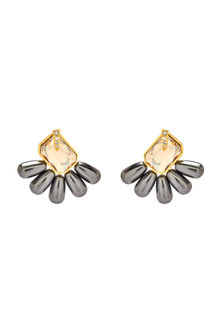 Gold Finish Rose Stud Earrings With Crystals & Pearls by Isharya X Confluence