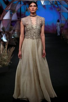 Nude Off Shoulder Gown With Silver Crop Jacket by Jade by Monica and Karishma