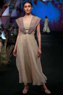 Nude Embellished Maxi Dress by Jade by Monica and Karishma