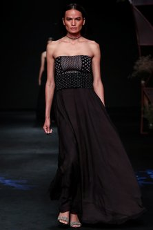 Black Embellished Gown With Macrame Belt by Jade by Monica and Karishma