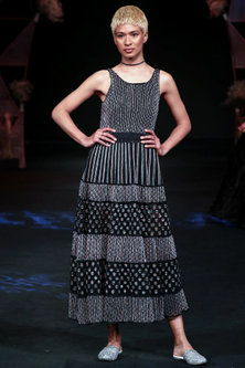 Black Textured & Embellished Gown by Jade by Monica and Karishma
