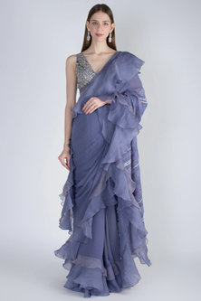 Aegean Blue Embroidered Ruffled Saree Set by Jade by Monica and Karishma-Shop By Style