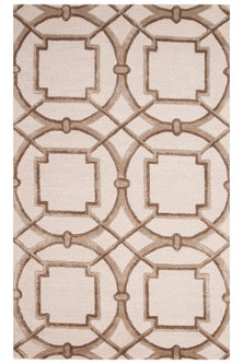Ivory Rug With Geometric Patterns by Jaipur Rugs