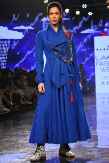 Cobalt Blue Embroidered Angrakha With Belt by Jajaabor-LAKMÉ FASHION WEEK S/R '20