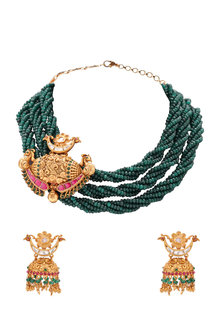 Gold Plated Green Beaded Temple Pendant Necklace Set by Joules By Radhika