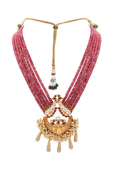 Gold Plated Pink Temple Pendant Necklace by Joules By Radhika