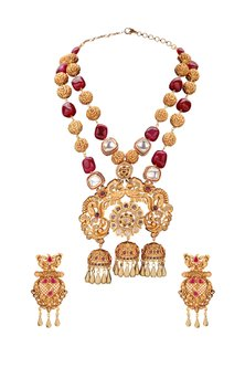 Gold Plated Red Beaded Pendant Necklace Set by Joules By Radhika