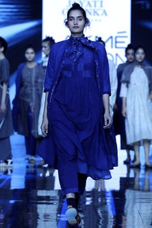 Indigo Blue Embroidered Dress With Tunic & Pants by Jayati Goenka