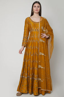 Mustard Zari Embroidered Anarkali Set by Joy Mitra