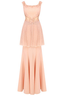 Pink Cutdana Embellished Floral Work Peplum Gown by Kamaali Couture