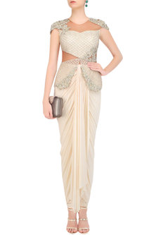 Cream Floral Embroidered Power Shoulder Peplum Jumpsuit by Kamaali Couture