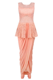 Peach Cutdana Embroidered Peplum Jumpsuit by Kamaali Couture