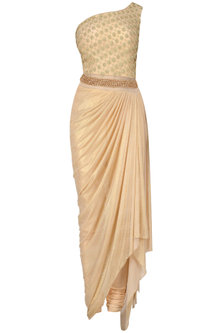 Pink Jaal Embroidered One Shoulder Drape Saree by Kamaali Couture