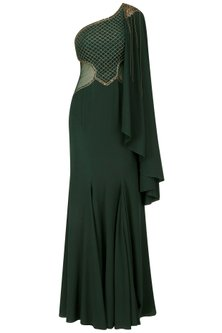 Green Jaal Embroidered One Side Cape Gown by Kamaali Couture