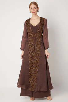 Brown Embroidered Cape With Jumpsuit by Kehiaa by Kashmiraa