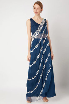 Cobalt Blue Embroidered Draped Blouse With Pants by Kehiaa by Kashmiraa