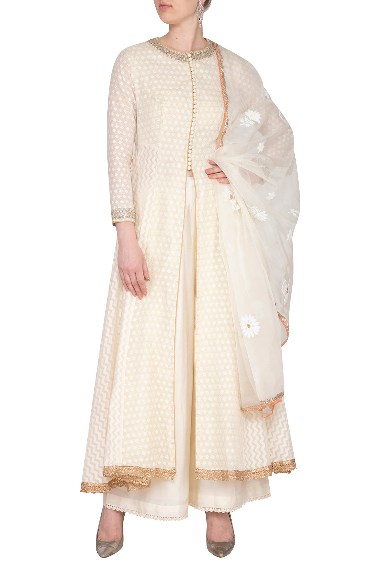 Off White Embroidered Anarkali Set