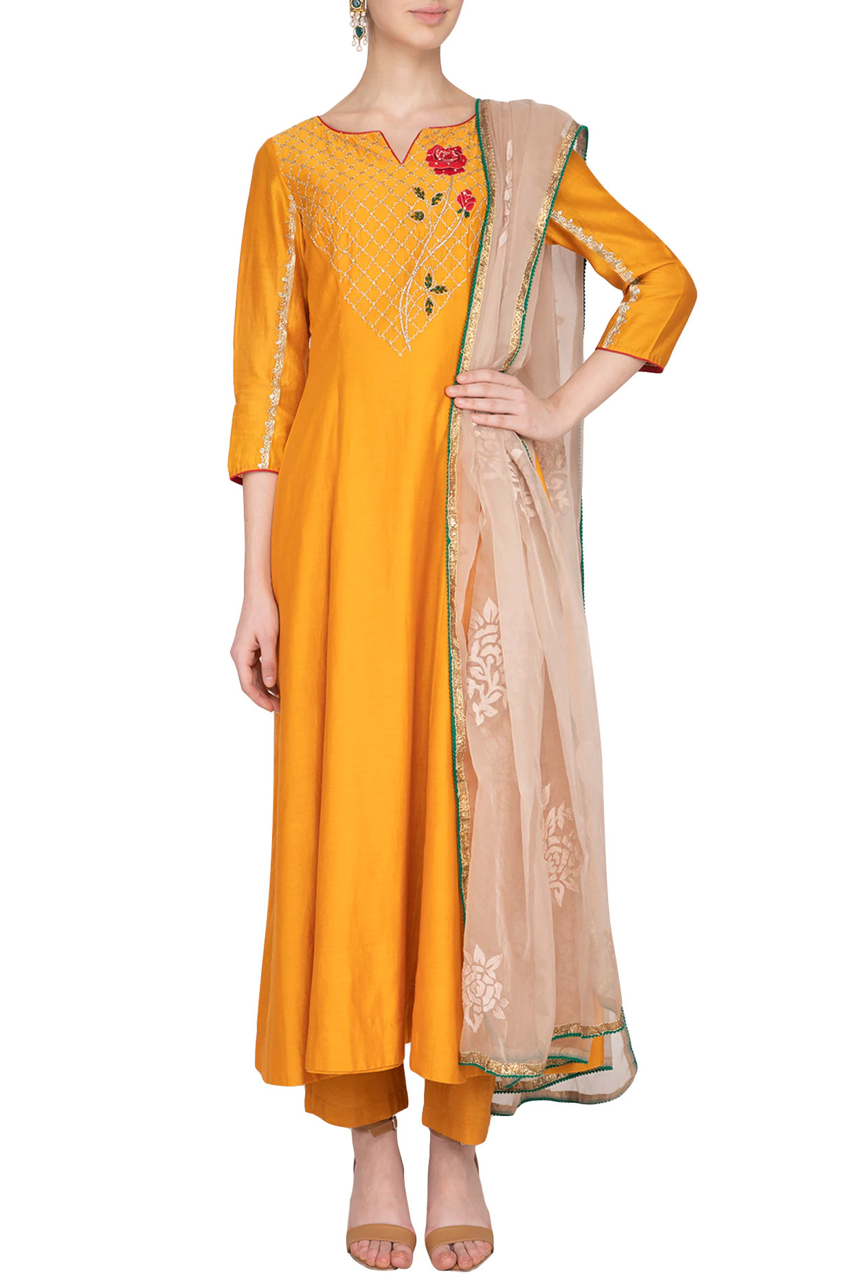 Apricot Yellow Embroidered Anarkali Set
