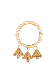 Gold Plated Pearls Bangle by Just Shraddha
