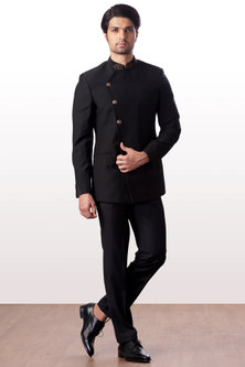 Black Bandhgala Jacket With Trouser Pants by Kommal Sood
