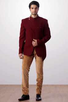 Burgundy Bandhgala Jacket With Tan Trouser Pants by Kommal Sood