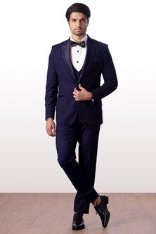 Black Terry Rayon Tuxedo Suit Set by Kommal Sood