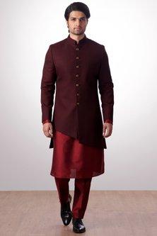 Burgundy Achkan Jacket With Kurta Set by Kommal Sood