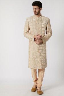 Cream & Beige Embossed Sherwani Set by Kommal Sood