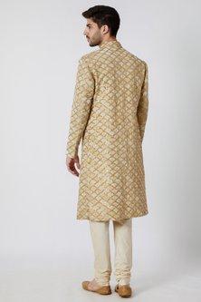 Beige & Cream Embroidered Sherwani Set by Kommal Sood