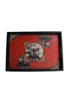 Wooden Aafreen Tray In Red by Karo