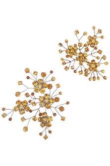 Antique Gold Jasmine Crystal Hairpins by Karleo