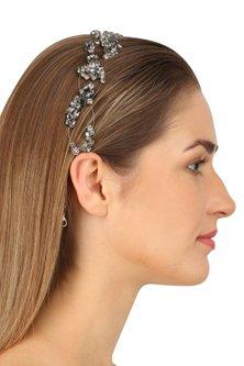 Norma Black Diamond Crystal Embellished Headpiece by Karleo