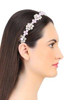 Rose and Opal Floral Crystal Embellished Headband by Karleo