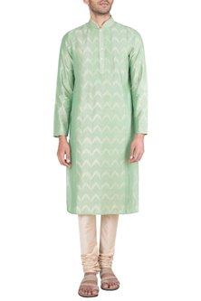 Pista Green Embroidered Printed Kurta With Churidar Pants by Krishna Mehta Men