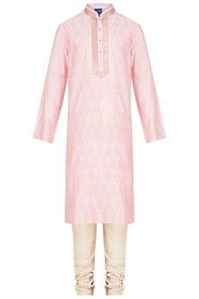 Pink Embroidered Printed Kurta With Churidar Pants by Krishna Mehta Men