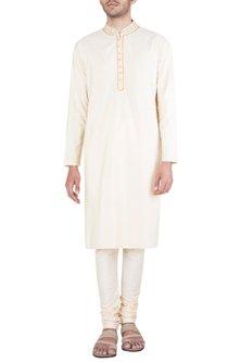 Cream Block Printed Embroidered Kurta With Churidaar Pants by Krishna Mehta Men