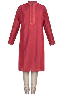 Red Block Printed Embroidered Kurta With Churidaar Pants by Krishna Mehta Men