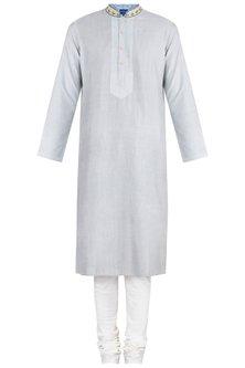 Grey Block Printed Embroidered Kurta With Churidaar Pants by Krishna Mehta Men