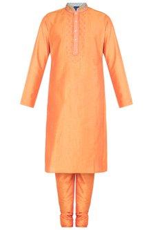 Orange Block Printed Embroidered Kurta With Churidaar Pants by Krishna Mehta Men