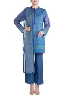 Blue Printed Tunic Set by Krishna Mehta