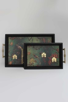 Green Wooden Gulbagh Tray by Karo