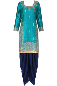 Blue Aari Work Kurta and Salwar Pants Set by RANA'S by Kshitija