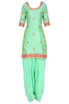 Sea Green Embroidered Kurta with Blue Patiala Salwar Pants by RANA'S by Kshitija