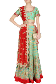 Mint Green and Red Embroidered Lehenga Set by RANA'S by Kshitija