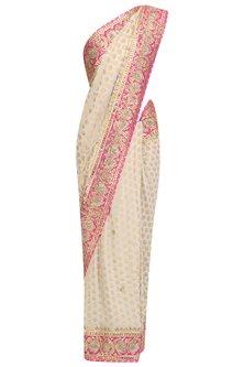 White Embroidered Banarasi Saree by RANA'S by Kshitija