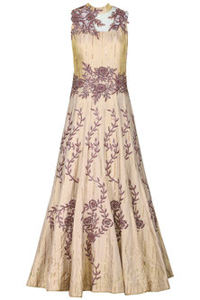 Rose Gold Embroidered Gown by Kushal's