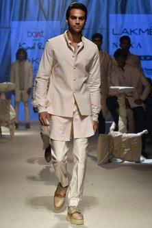 Vanilla Textured Kurta by Kunal Rawal