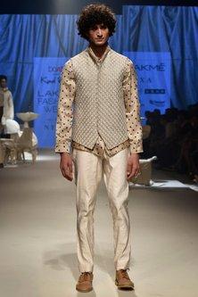 Beige Bandhani Denim Jacket Shirt by Kunal Rawal