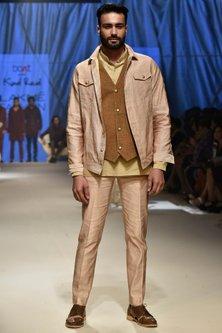 Tan Printed Suede Waistcoat by Kunal Rawal
