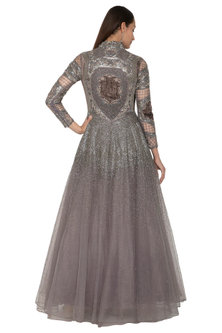 Silver Grey Armour Style Embroidered Dress by Kartikeya